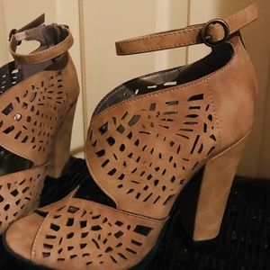 Michael Antonio Tan Strappy Peep Toe High Heels